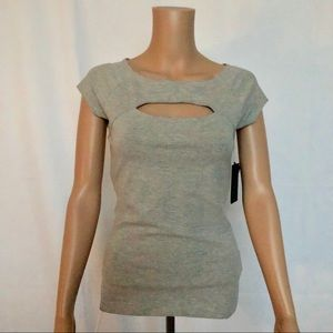 NWT Guess Cut out Gray T-shirt Top.